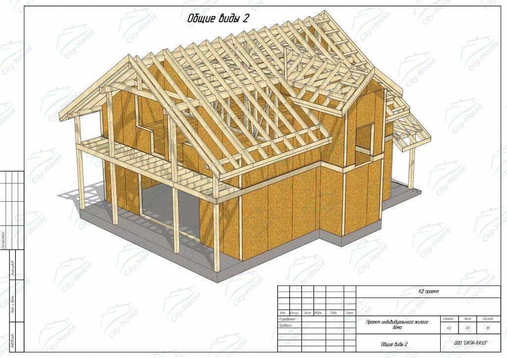 Вид домокомплекта из СИП панелей по проекту для монтажа