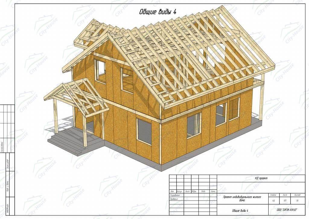 Фасад домокомплекта из СИП панелей по проекту для монтажа