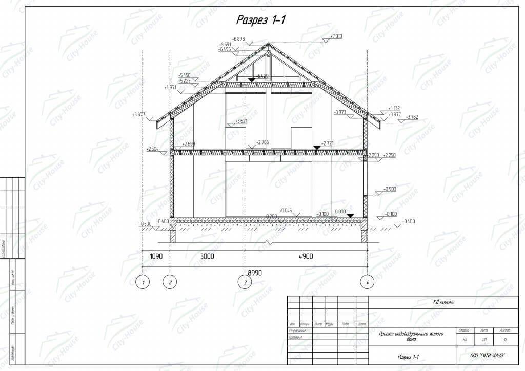 Разрез дома из СИП панелей по проекту для сборки