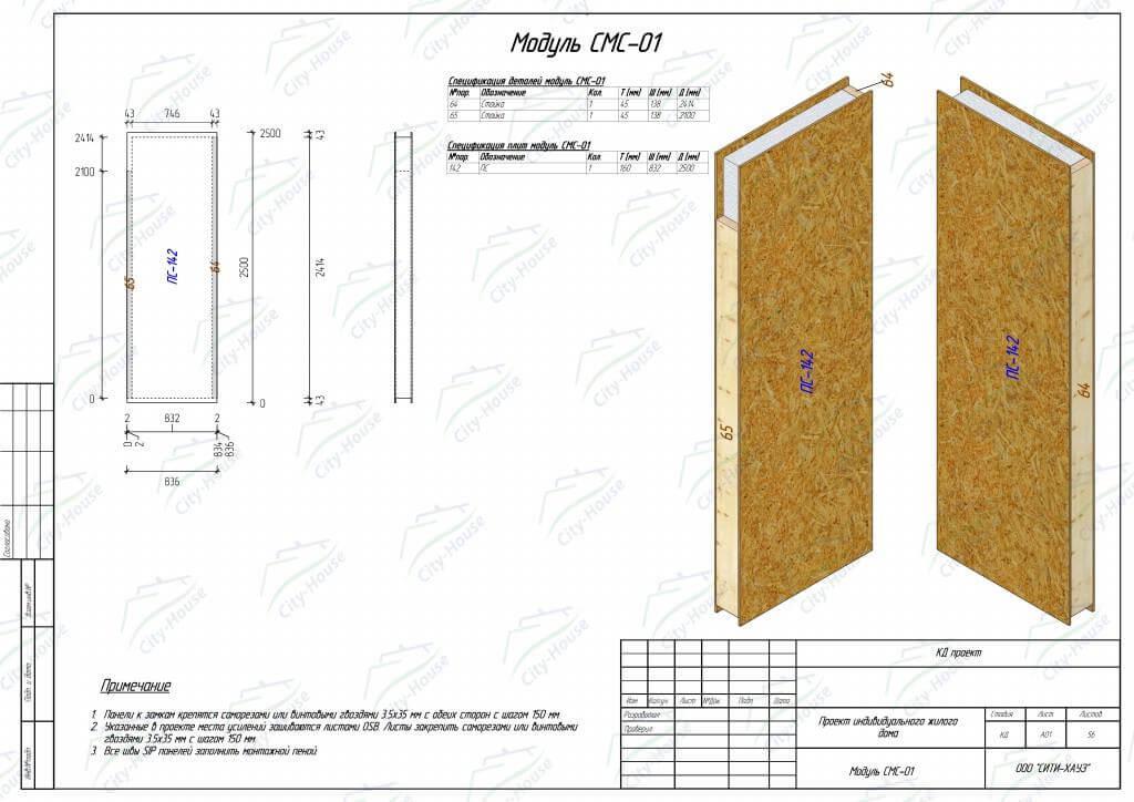 Модуль стены из СИП панелей