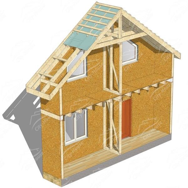 Каркасно-щитовой дом комбинированный под отделку