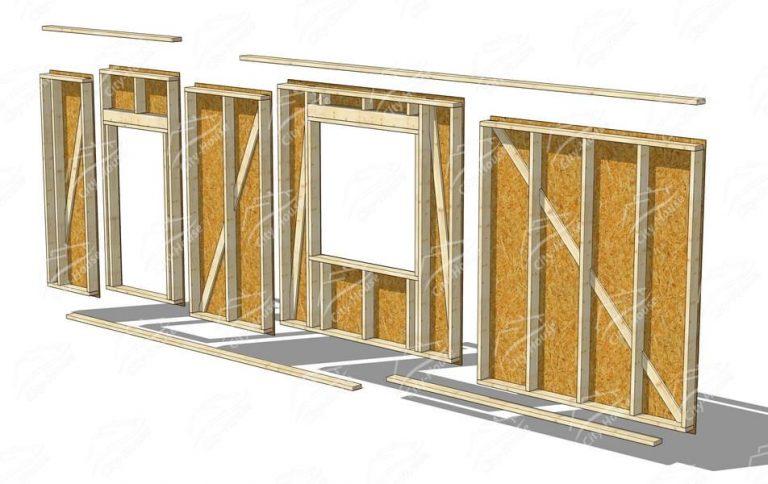 Стена из каркасных стеновых модулей