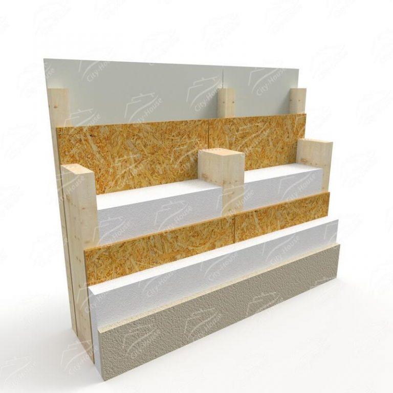 Отделка стены из СИП панелей, пирог под короед