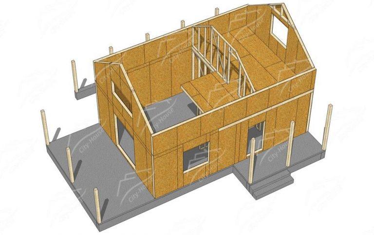 План 2 этажа каркасного дома из СИП панелей в 3D
