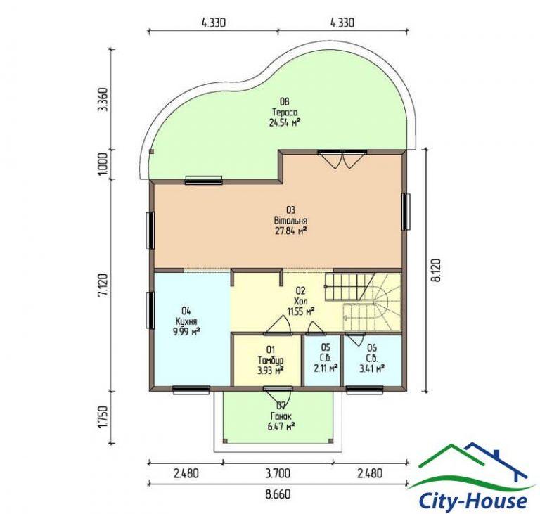 план первого этажа каркасного дома из СИП панелей C1517 Литин