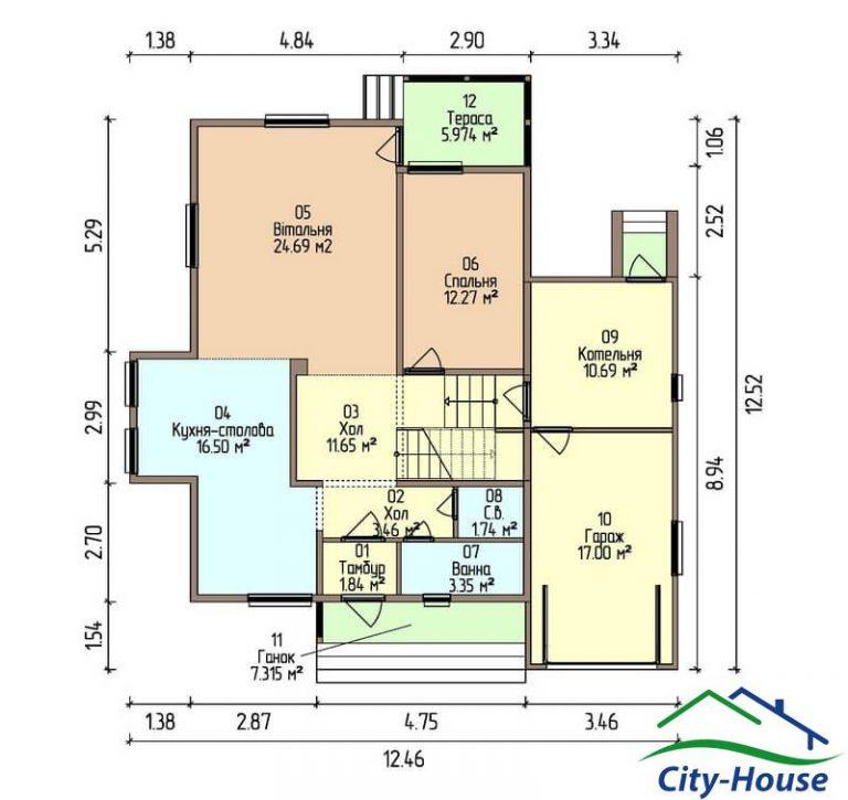 план первого этажа каркасного дома из СИП панелей C1515 Тернополь
