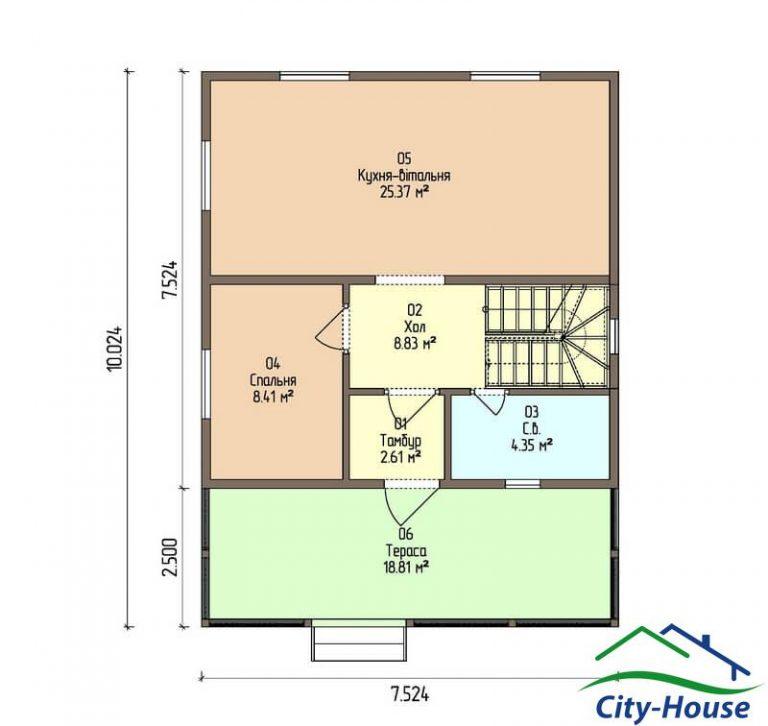 план первого этажа каркасного дома из СИП панелей C1516 Черкассы