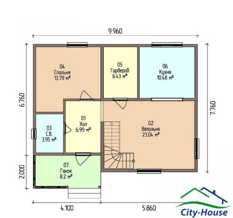 план первого этажа каркасного дома из СИП панелей C1518 Сумы