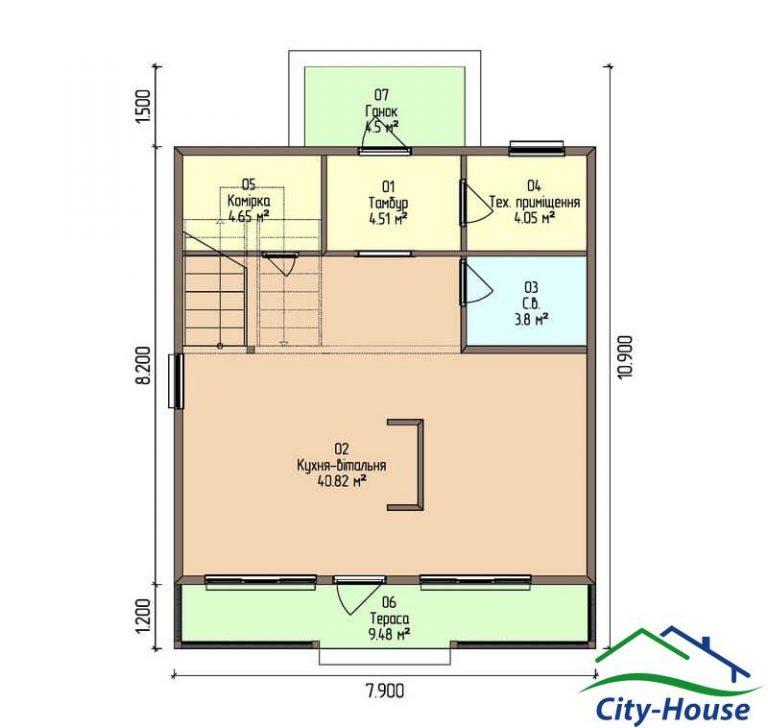 план первого этажа каркасного дома из СИП панелей C1519 Черновцы