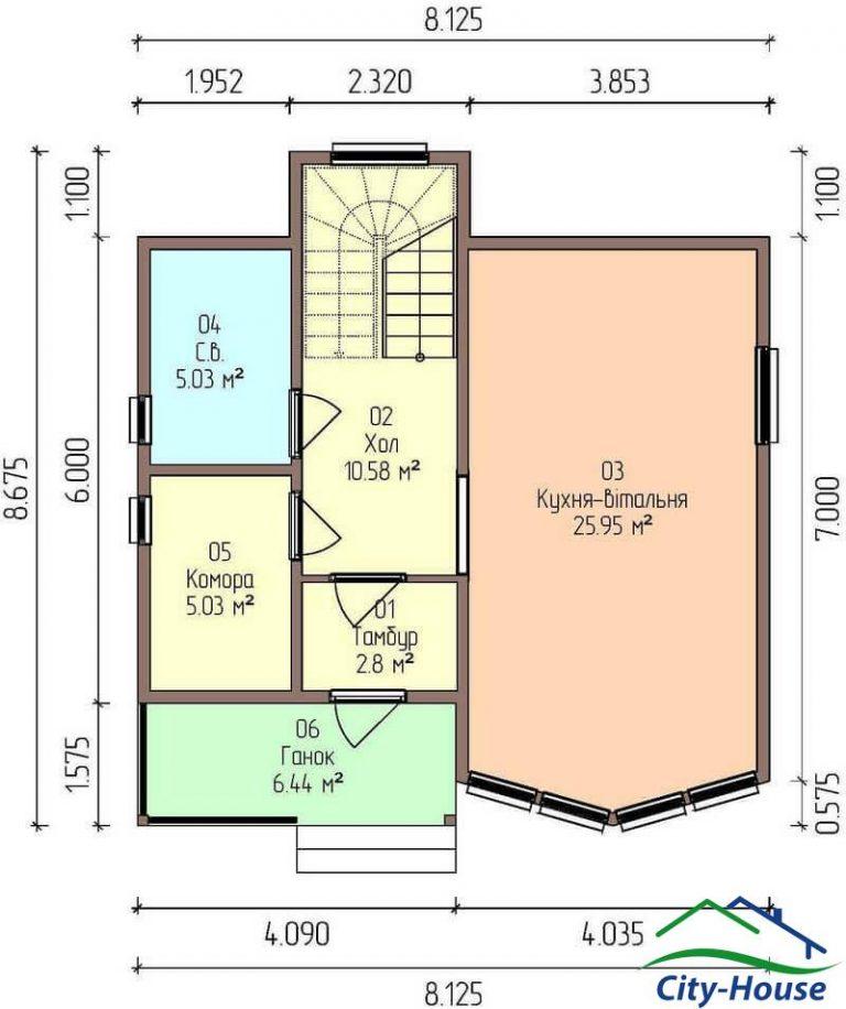 план первого этажа каркасного дома из СИП панелей C1702 Днепр