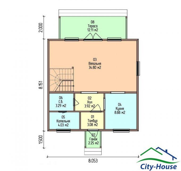 план первого этажа каркасного дома из СИП панелей C1506 Львов