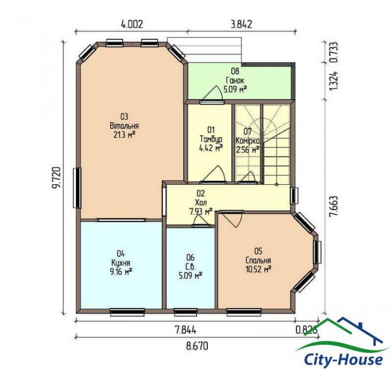 план первого этажа каркасного дома из СИП панелей C1505 Хмельницький