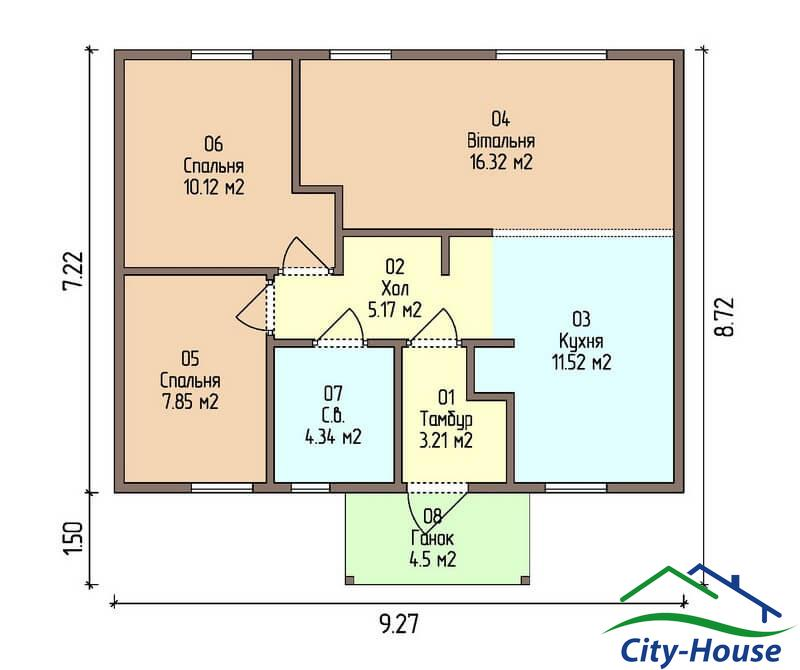 план первого этажа каркасного дома из СИП панелей C1509 Одесса