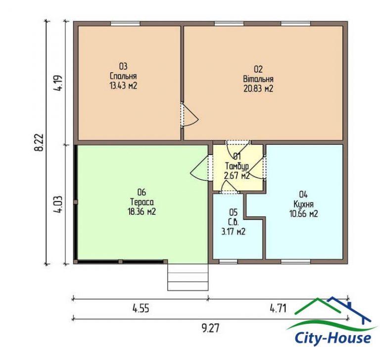 план первого этажа каркасного дома из СИП панелей C1510 Гайсин