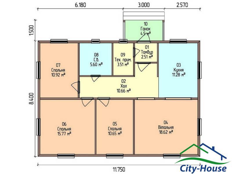 план первого этажа каркасного дома из СИП панелей C1513 Жмеринка