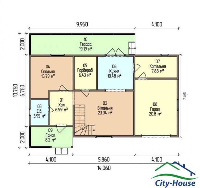 план первого этажа каркасного дома из СИП панелей C1514 Житомир