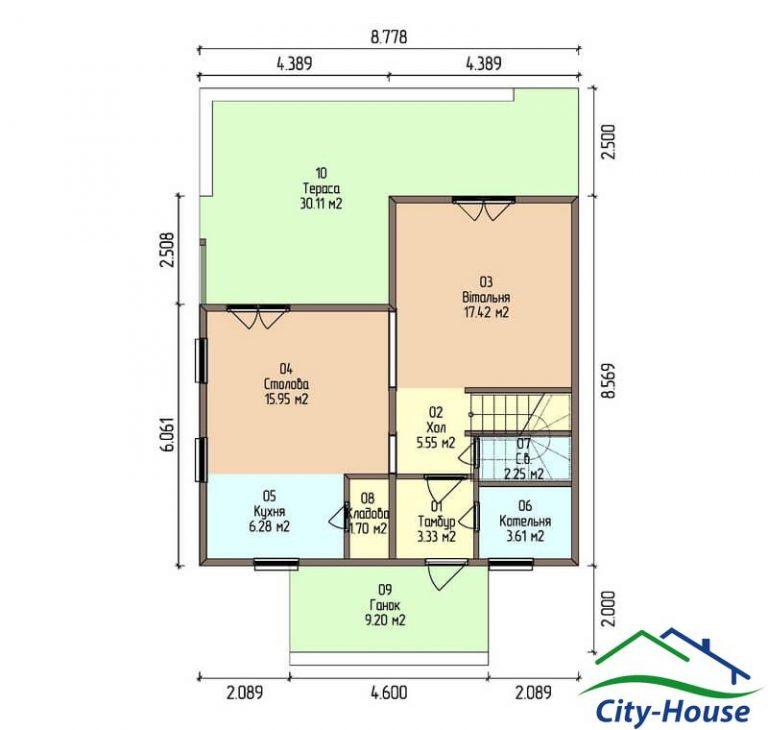 план первого этажа каркасного дома из СИП панелей C1507 Киев