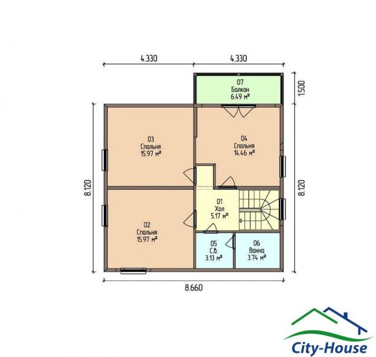 план второго этажа каркасного дома из СИП панелей C1517 Литин