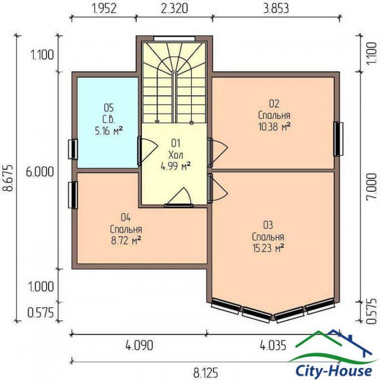 план второго этажа каркасного дома из СИП панелей C1702 Днепр