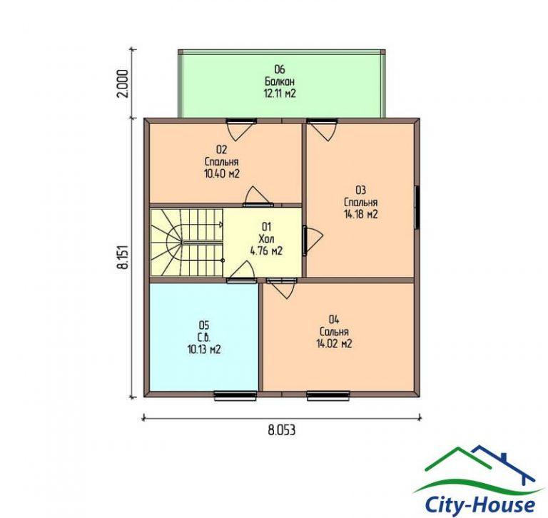 план второго этажа каркасного дома из СИП панелей C1506 Львов