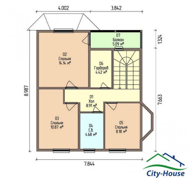 план второго этажа каркасного дома из СИП панелей C1505 Хмельницький