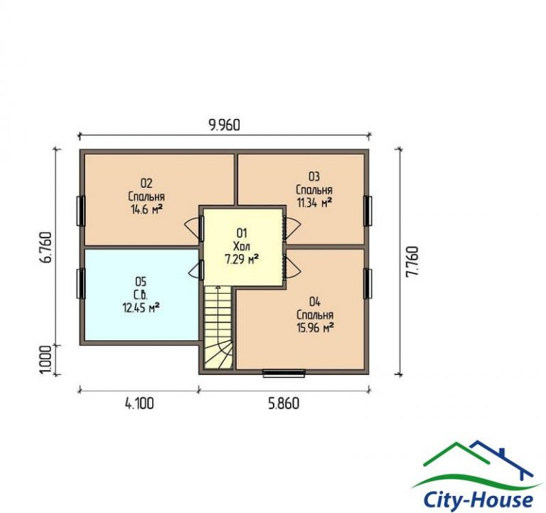 план второго этажа каркасного дома из СИП панелей C1514 Житомир