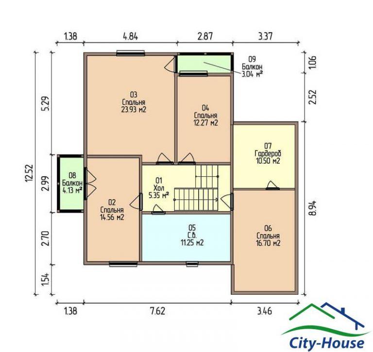 план второго этажа каркасного дома из СИП панелей C1515 Тернополь