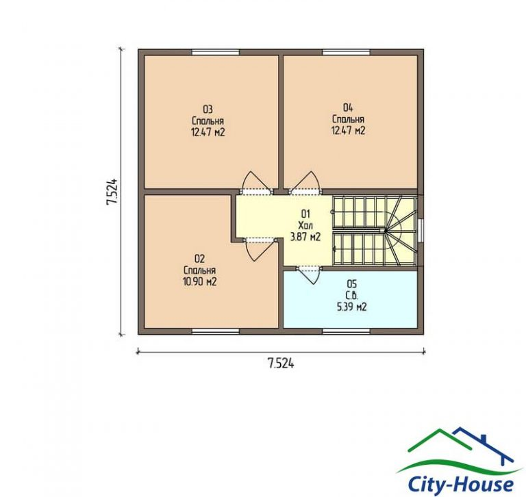 план второго этажа каркасного дома из СИП панелей C1516 Черкассы