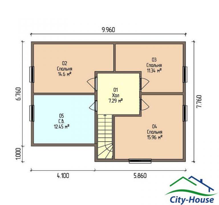 план второго этажа каркасного дома из СИП панелей C1518 Сумы
