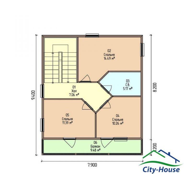 план второго этажа каркасного дома из СИП панелей C1519 Черновцы