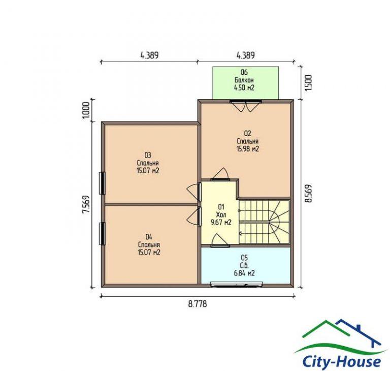 план второго этажа каркасного дома из СИП панелей C1507 Киев