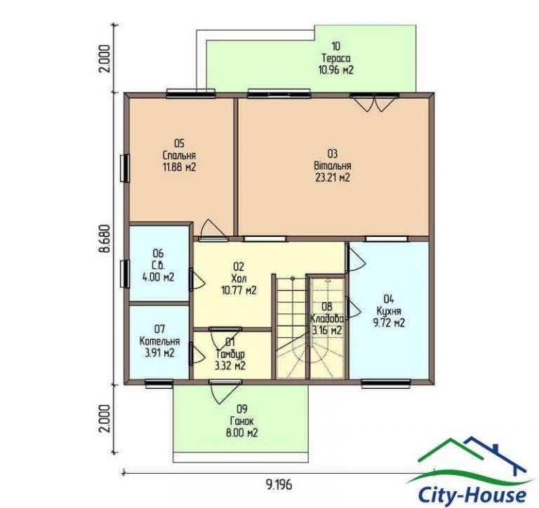 план первого этажа каркасного дома из СИП панелей C1508 Харьков