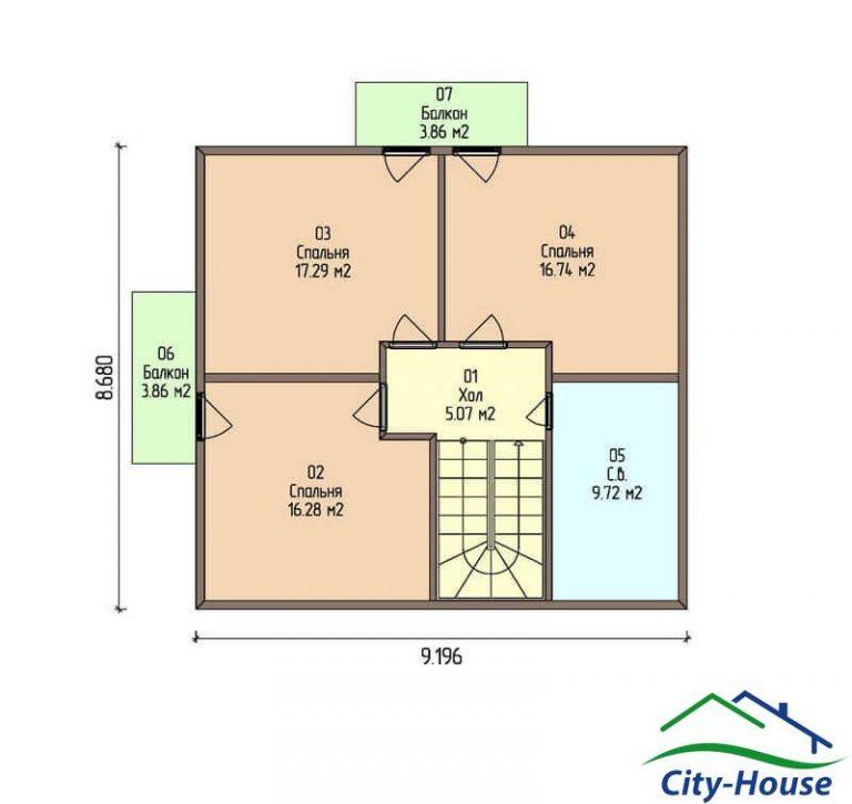 план второго этажа каркасного дома из СИП панелей C1508 Харьков