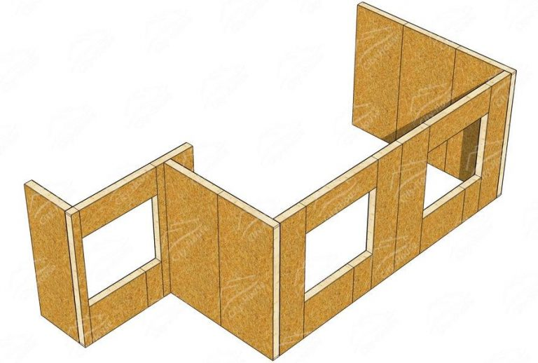 План каркасной пристройки из СИП панелей в 3D