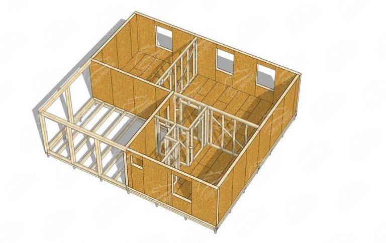 План каркасного дома из СИП панелей в 3D