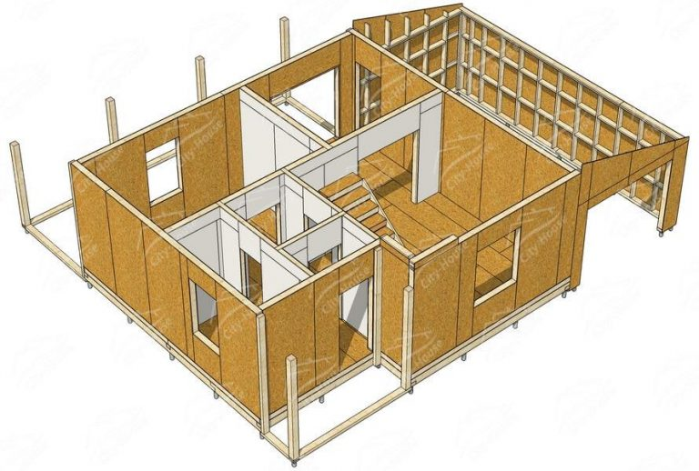 План 1 этажа каркасного дома из СИП панелей в 3D