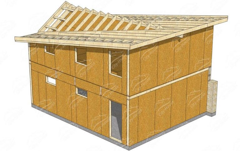 проект каркасного гаража из СИП панелей