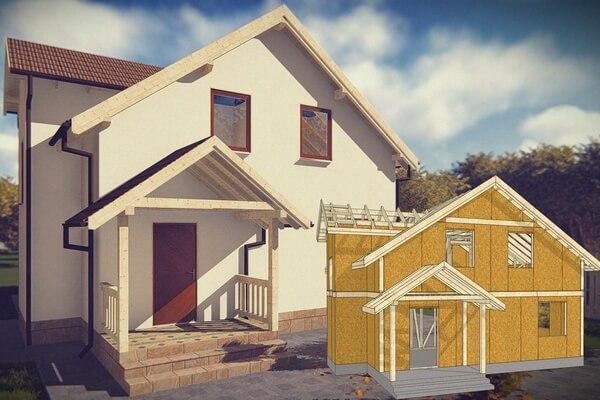 Двухэтажный дом из СИП панелей с мансардой
