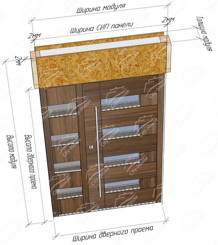 Размеры СИП модуля двери