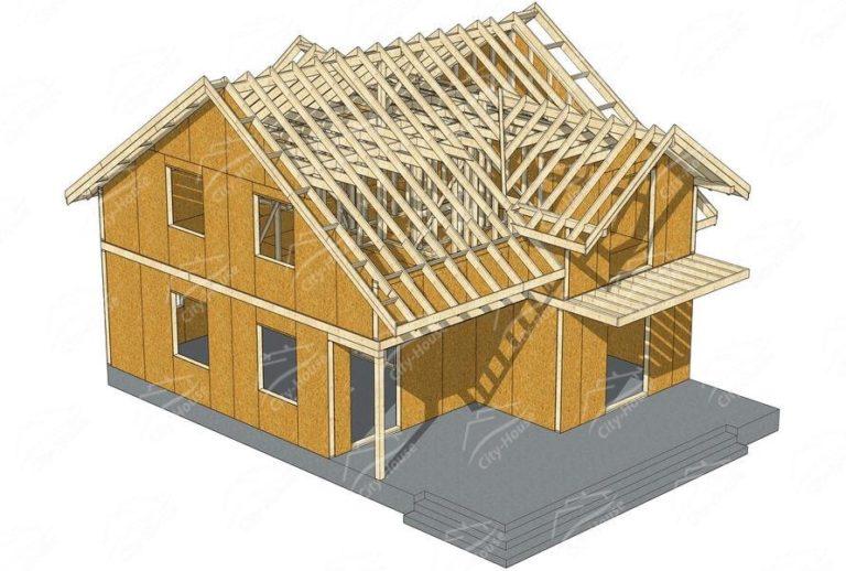 Конструкция домокомплекта каркасного дома из СИП панелей по проекту для сборки