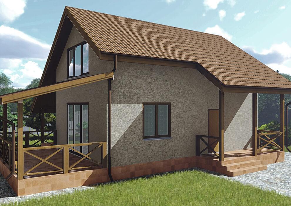 Проект каркасного дома из СИП панелей C1614 Казатин