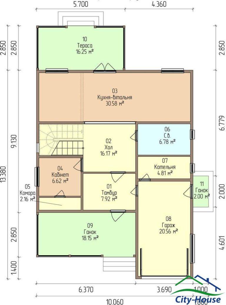 план первого этажа каркасного дома из СИП панелей C1607 Бар