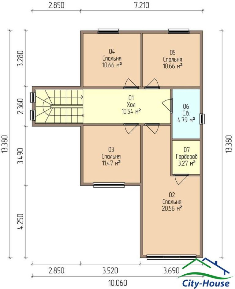 план второго этажа каркасного дома из СИП панелей C1607 Бар