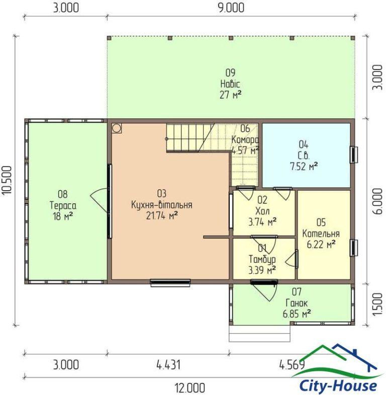 план первого этажа каркасного дома из СИП панелей C1614 Казатин