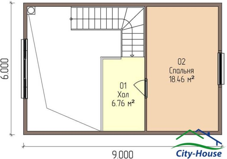 план второго этажа каркасного дома из СИП панелей C1614 Казатин