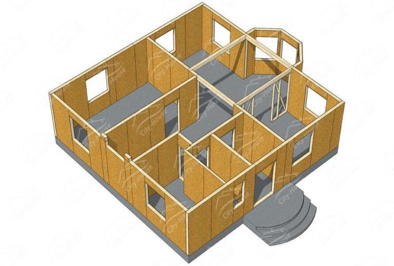 План 1 этажа канадского дома из СИП панелей в 3D