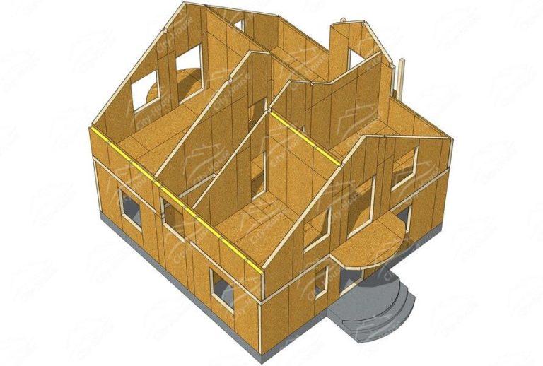 План 2 этажа канадского дома из СИП панелей в 3D
