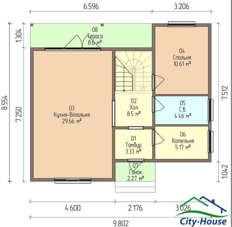 план первого этажа каркасного дома из СИП панелей C1610 Хмельник