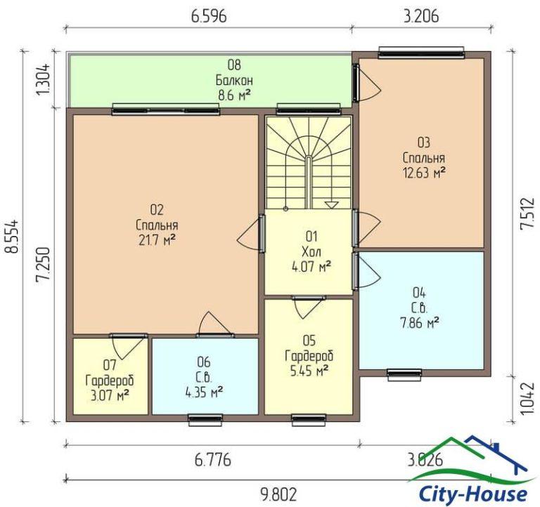 план второго этажа каркасного дома из СИП панелей C1610 Хмельник