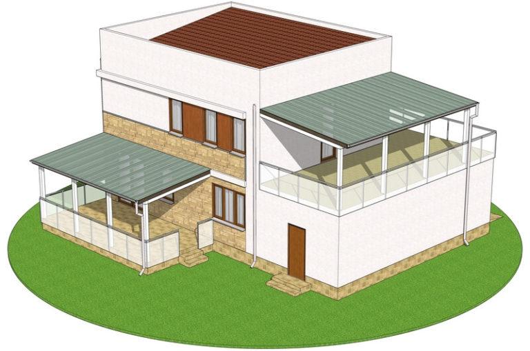 Проект канадского дома в стиле хай тек C1729 Теплик